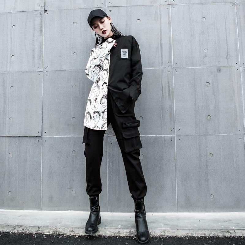 工装衬衫女2019秋季新款设计感小众趣味印花港风潮ins中长款上衣12-02新券