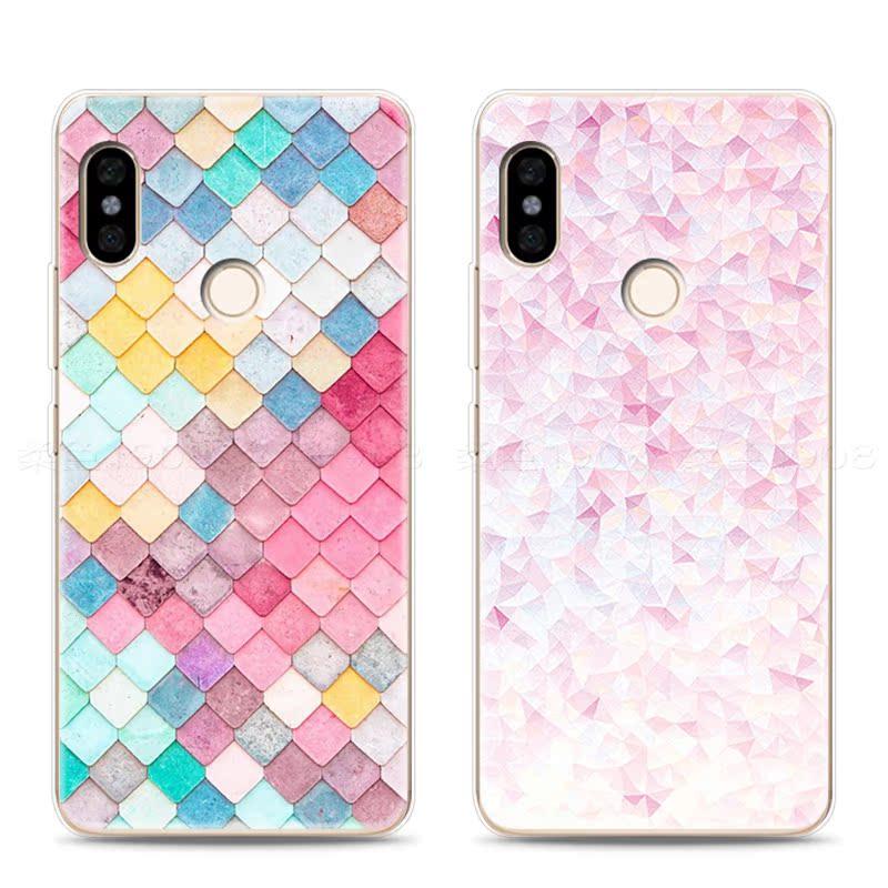小米8/se/探索版手机壳软胶女款日韩浮雕文艺清新粉色彩色菱格潮