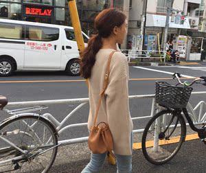 2019韩国官网春季可爱小包单肩斜跨包抽绳水桶包复古百搭女包包