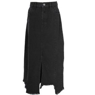 新款 VMASK2019夏季 高腰显瘦开叉毛边牛仔半身裙女 ONLY 119337510