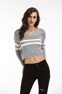亚博娱乐平台入口 现货 欧美外贸新款V领条纹拼色短款长袖T恤毛衣