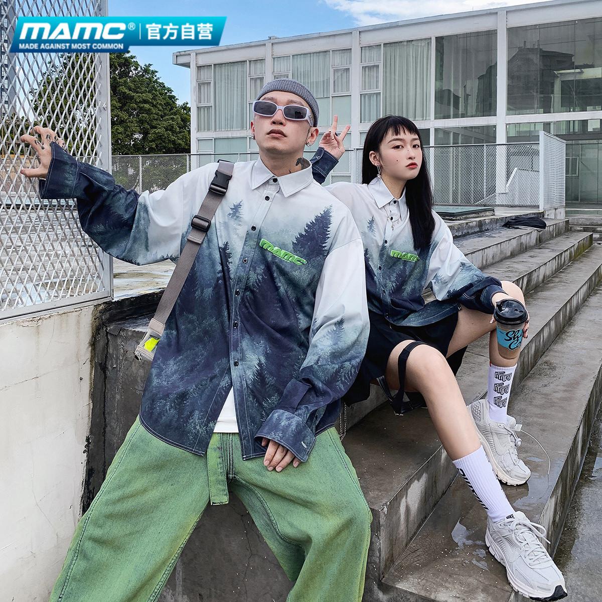 MAMC森林印花长袖休闲衬衫oversize男国潮牌宽松情侣街头嘻哈外套有赠品