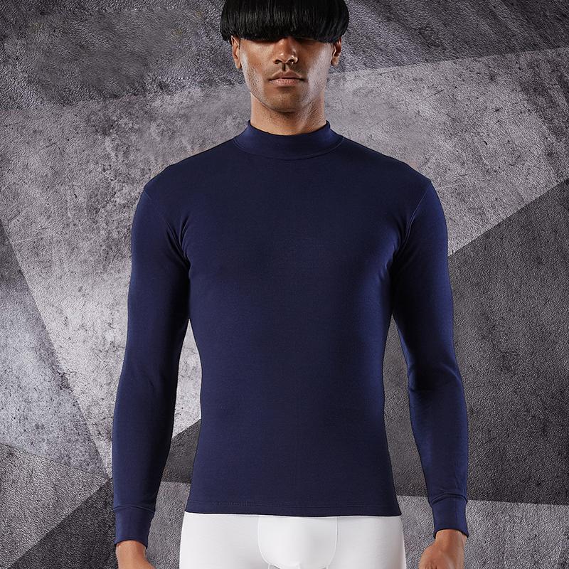 男士内衣上衣纯棉秋衣薄款中领打底单件棉毛衫全棉中老年保暖