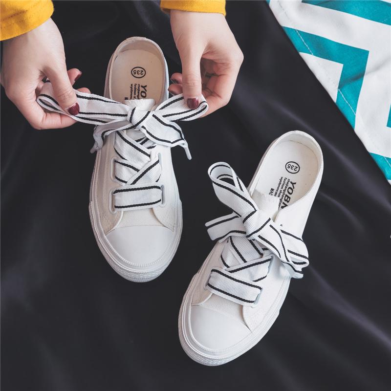 缤逸半拖鞋女帆布鞋无后跟一脚蹬懒人鞋布鞋平底夏百搭韩版小白鞋