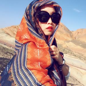 土耳其沙漠度假旅游丽江防嗮披肩流苏民族风超大围巾女士两用丝巾