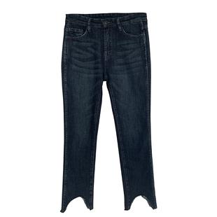 恩家匯  直筒高腰牛仔褲女2020年春季新款韓版修身顯瘦小腳九分褲