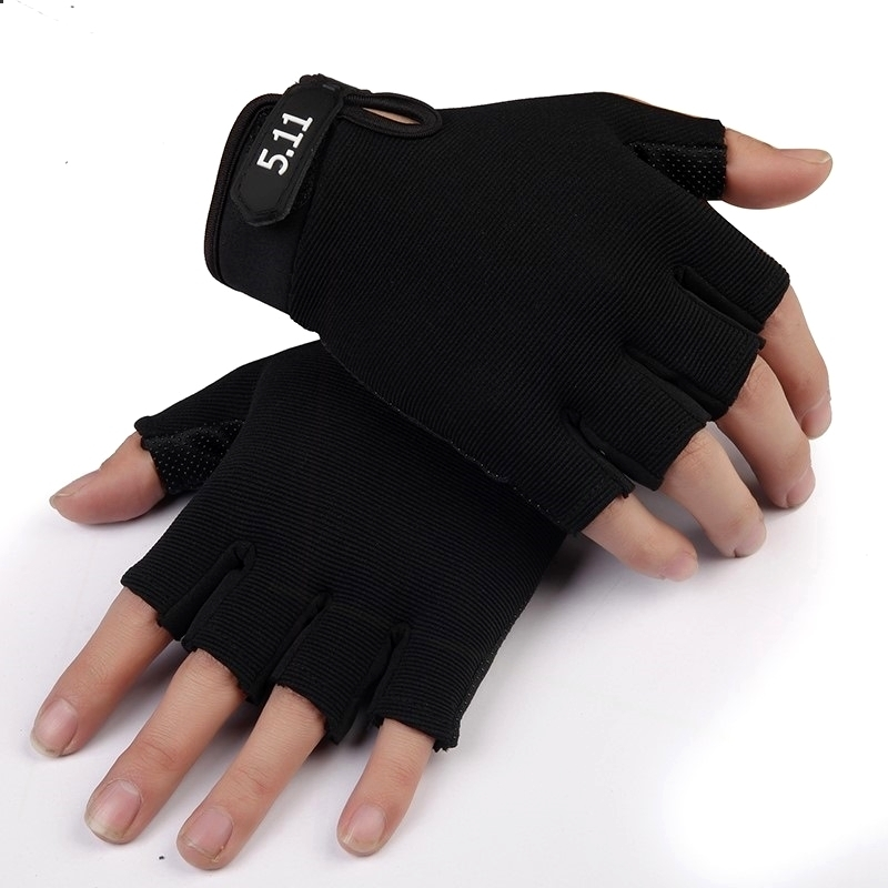 Cycling black half thin elastic gloves mens half fingers mens and womens summer equipment five fingers handsome spring and Autumn