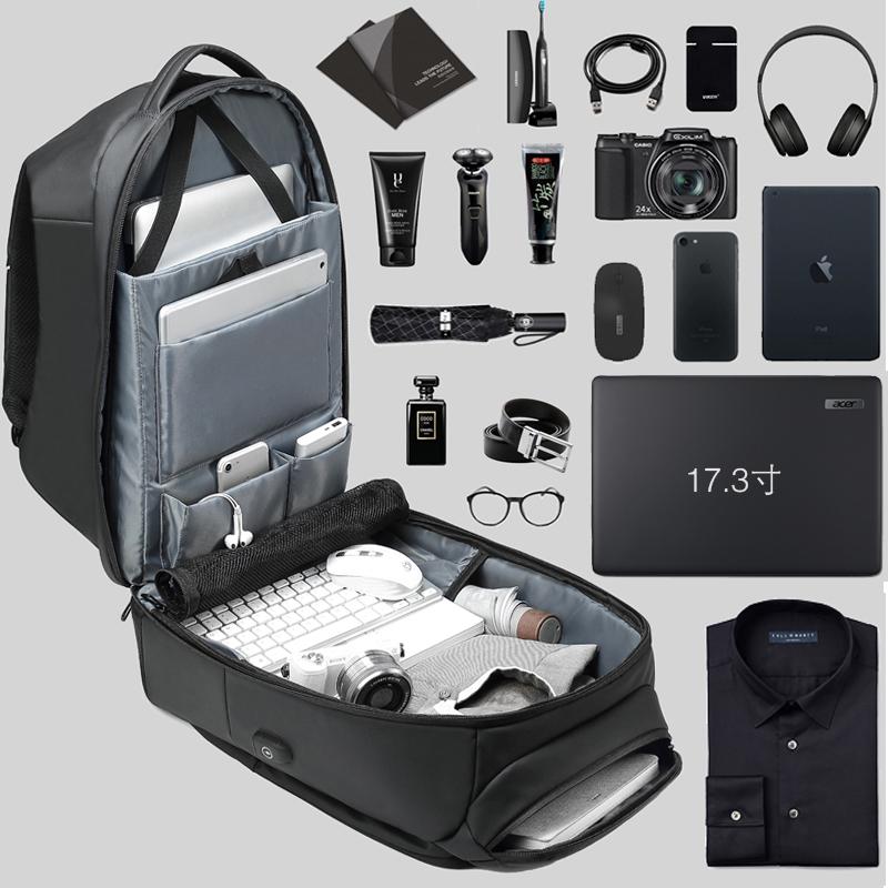 商务双肩包男大容量短途出差旅行包17寸电脑包多功能旅游男士背包(非品牌)