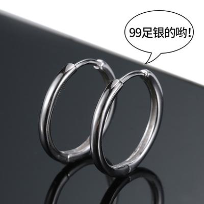 99纯银耳环男士2020年新款潮人酷黑色耳圈女生单只耳饰耳骨环耳钉