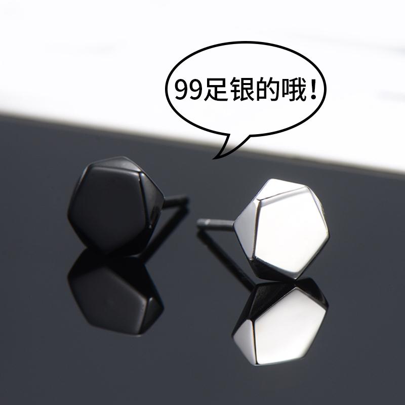 99纯银耳钉男士2019新款潮男生耳环女酷帅几何潮人单只黑色耳饰品