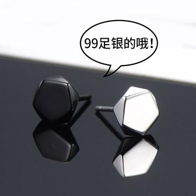 纯银耳钉男士2020年新款潮男生耳环女酷帅几何潮人单只黑色耳饰品