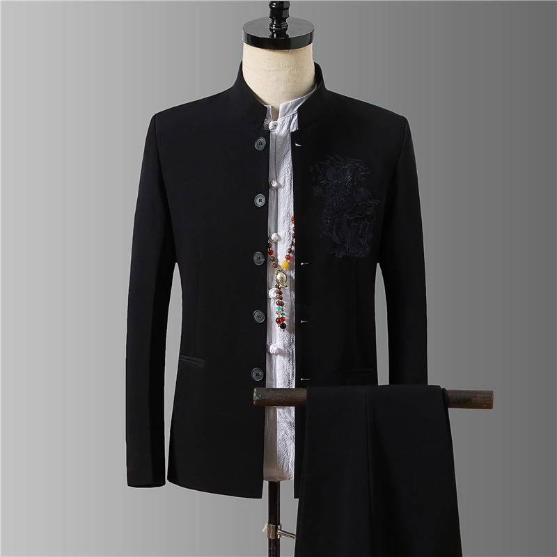 中山装三件套装男中青年修身中华立领西装中国风中式爸爸装民国风