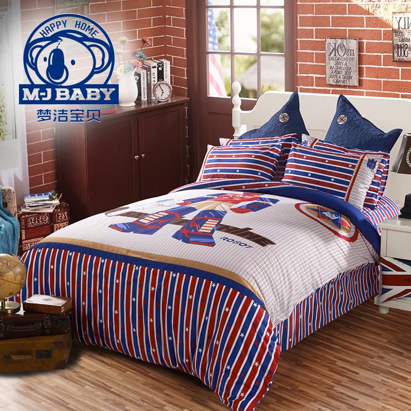 Мечтать чистый ребенок ребенок три образца хлопок четыре части мужчина мультики студент комната с несколькими кроватями комплект лист одеяло машина рыцарь