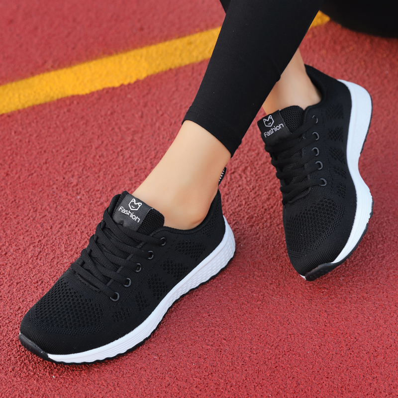 Womens return strength shoes sports shoes female students canvas casual running shoes spring light soft sole single mesh surface breathable running shoes