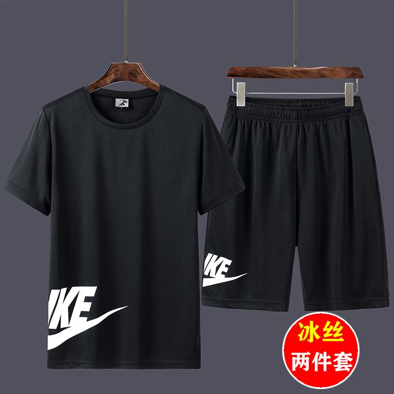 男士短袖运动套装夏季潮流宽松大码跑步健身服冰丝速干t恤上衣服图片