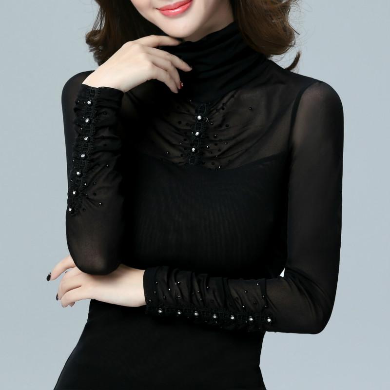 2021年春の新型韓国版の大きいサイズの布の長袖の高襟の女性Tシャツの上着の網の紗は身を修めて小さいシャツを作ります。