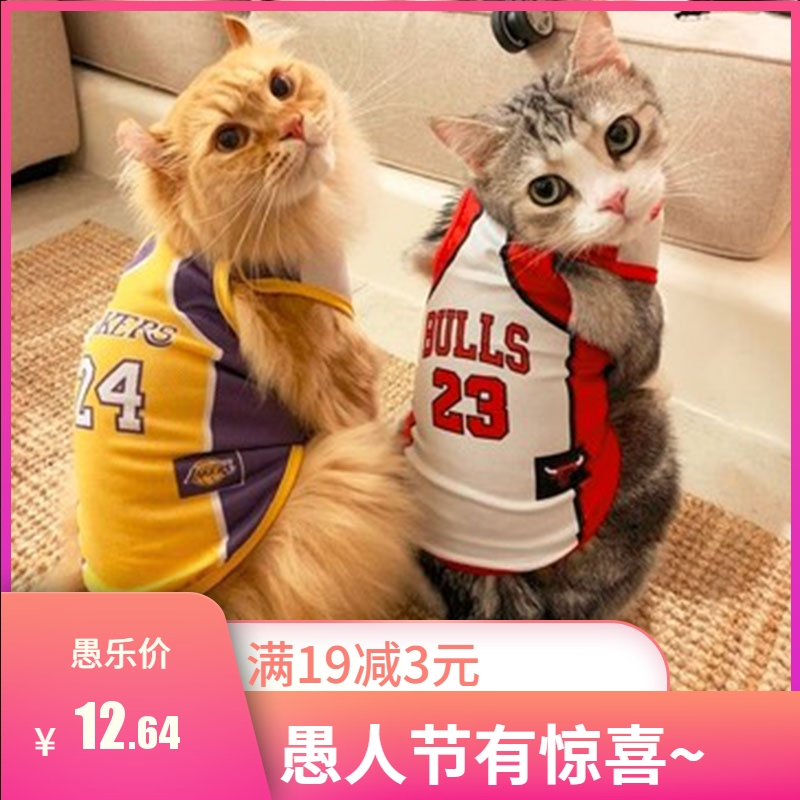 NBA basketball Kobe Bryant summer clothes pet kitten hair proof thin American and British short puppet mesh vest cat clothes