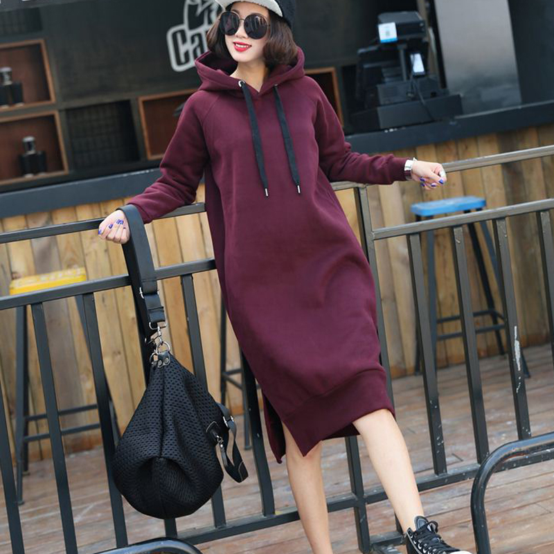Cashmere / plush sweater womens Korean spring dress loose solid color womens thickened Hoodie long over knee dress