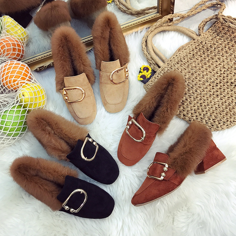 Europe station square head thick with shoes with plush shoes in 2017 autumn and winter new wild female plus velvet padded shoes