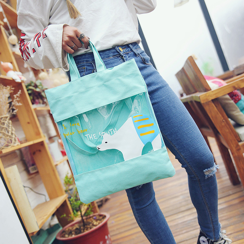 2017 new printing lovely Leisure Canvas womens environmental jelly one shoulder portable personalized handbag shopping bag