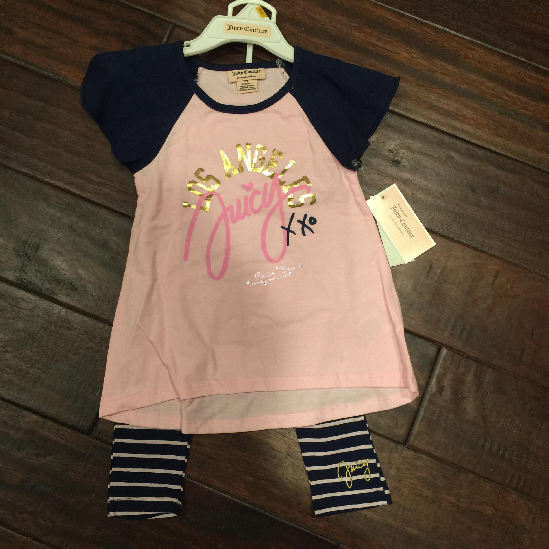 【小女人美国直邮】juicy couture女孩套装短袖长裤