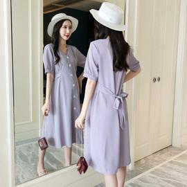 孕妇装夏季韩版宽松时尚V领纯色系带遮肚短袖中长款雪纺连衣裙潮