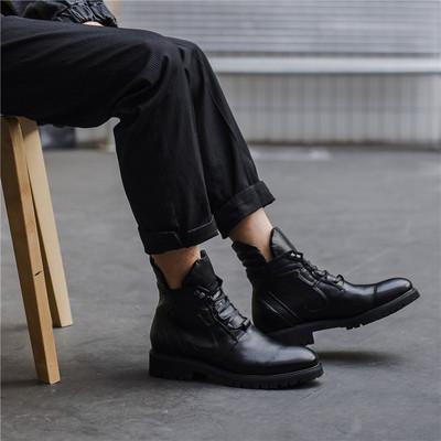 266-622P255男士新款冬季全黑色皮靴
