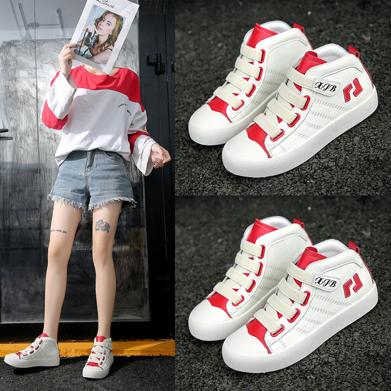 Net red small white shoes womens spring and autumn high top board shoes womens hip hop fashion casual shoes Velcro comfortable light shoes