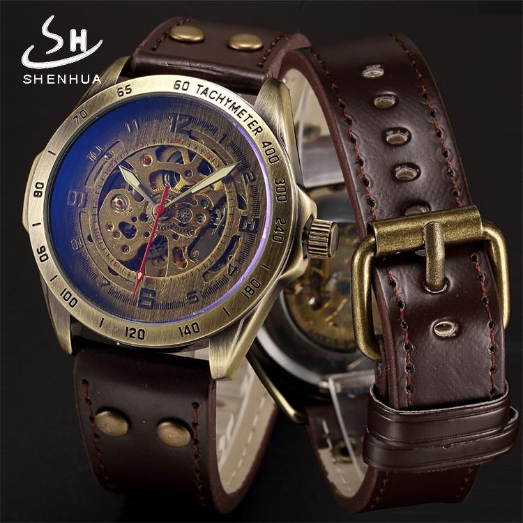 腕時計男子機械表男子時計は全自動的にスポーツの流れを透かしています。学生ファッションの復古の両面透かし時計です。