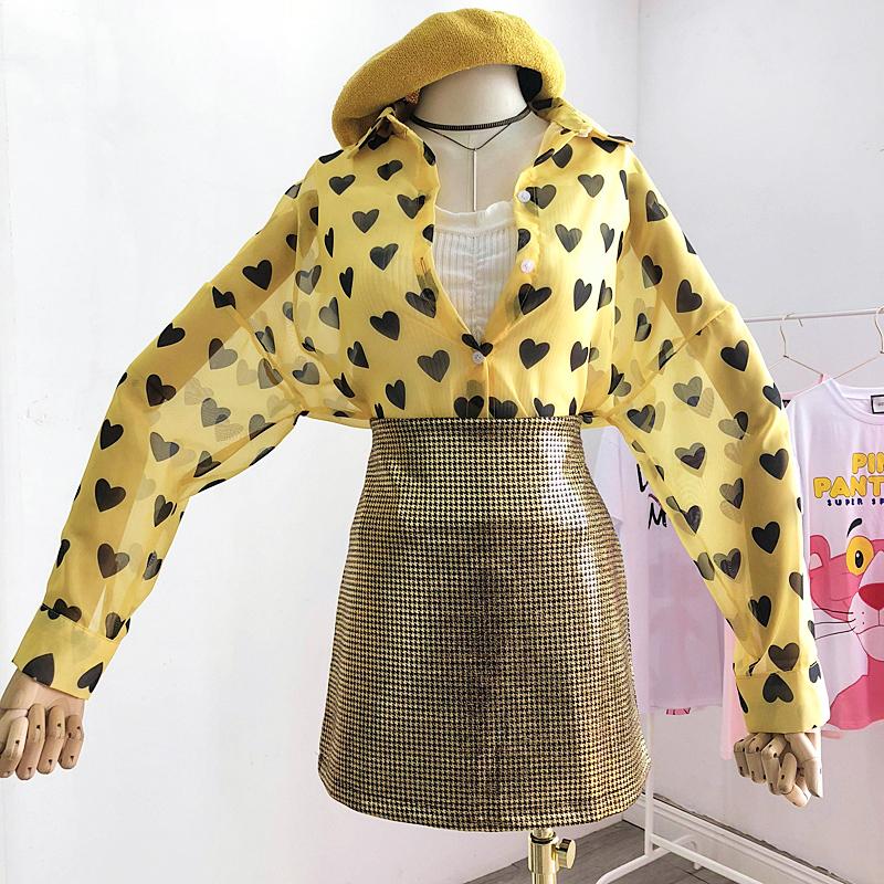 2018夏季新款韓版chic風愛心印花透視雪紡開衫百搭寬鬆長袖襯衫女