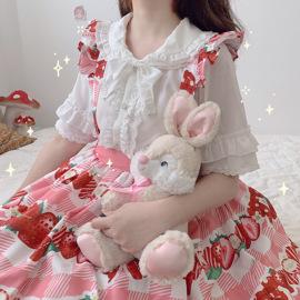三团AngelaPoPo原创神仙内搭Lolita衬衫清凉雪纺娃娃领小冰糕衬衫图片
