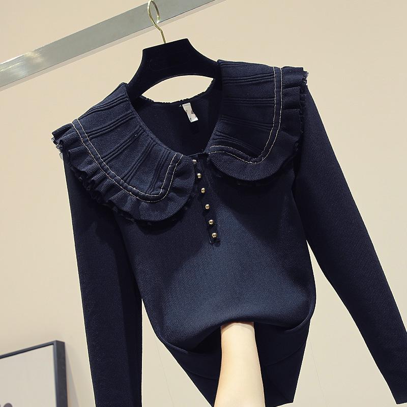 娃娃领套头毛衣女2019秋季新款修身显瘦百搭长袖打底衫针织上衣潮