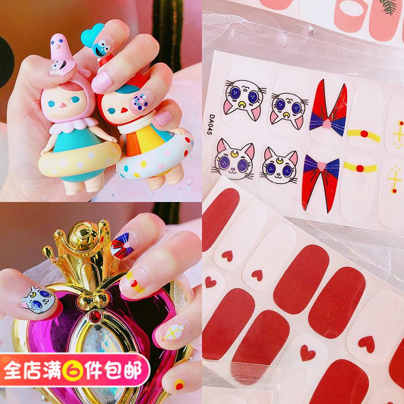 韓國泫雅網紅可愛指甲貼片女全貼指甲油美甲貼紙成品貼花抖音可愛