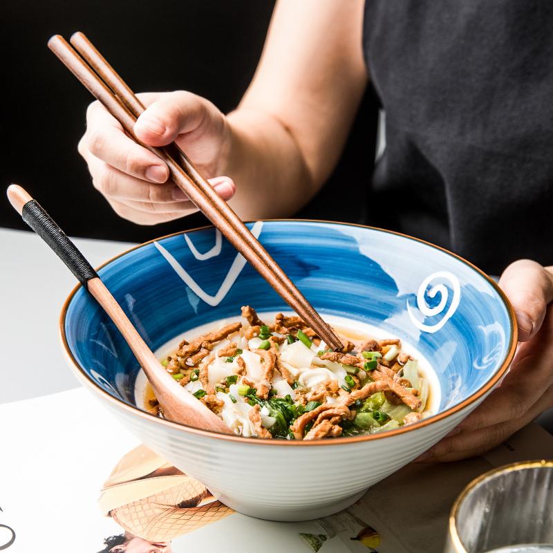 限时2件3折悠瓷 日式陶瓷大号汤面碗 家用吃面泡面碗拉面碗斗笠碗复古沙拉碗