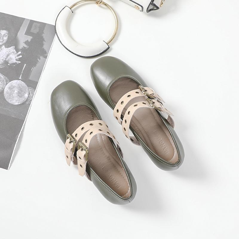 单鞋女2020春季赫本鞋女新款法式玛丽珍鞋平底仙女低跟森系奶奶鞋