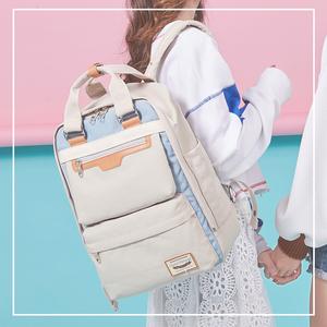 高颜值书包电脑包女可爱小清新高中生书包大容量结实甜甜圈双肩包