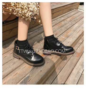 TTWuuu@ 【团购】前500双74元 日系搭扣厚底百搭系带靴子高帮女鞋