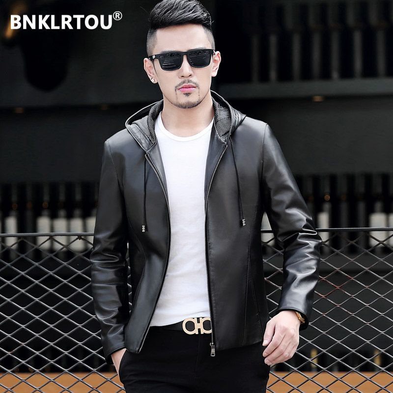 Spring and autumn thin Haining leather coat men's sheep leather short fit hooded leather jacket men's Korean coat trend