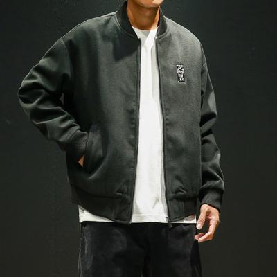 JK15 P85 日系黑墙1 新款男装绣花呢料夹克加厚呢料外套大码 很潮