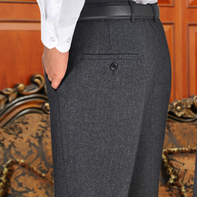 Middle-aged men's trousers high waist loose autumn thick middle-aged business suit pants straight daddy pants plus fat