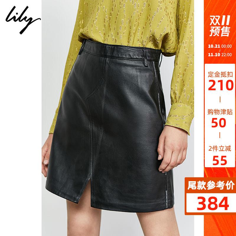 预定【佟丽娅同款】Lily2019秋新款黑色真皮绵羊皮A字短裙半身裙 thumbnail