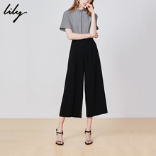 Lily 2019 Summer New Women's Wear Asymmetrical Loose Leisure Black High-waist Short-sleeve Fake Two Couplet Pants 7975