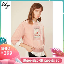 Lily 2019 Spring Female Fashion Character Printed Top, Round Neck Guard Sweater 119110A8295