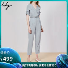 Lily2019 new summer dress, handsome business lapel, body crash, slim, overalls, pants, 7905