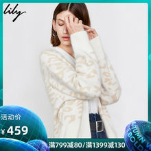 Lily Fall 2019 New Women's Wear Westernized Leopard Wear Loose Sleeve Recreational V-Neck Knitted cardigan 3932