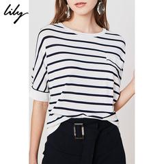 预售Lily2019夏新款简约撞色横条纹口袋薄款圆领宽松针织T恤8972