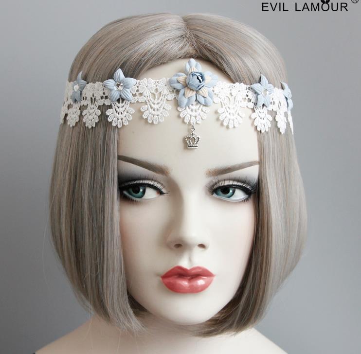 包邮手工白色森系蕾丝发带蓝色花朵丝带花环复古风百搭头带饰品