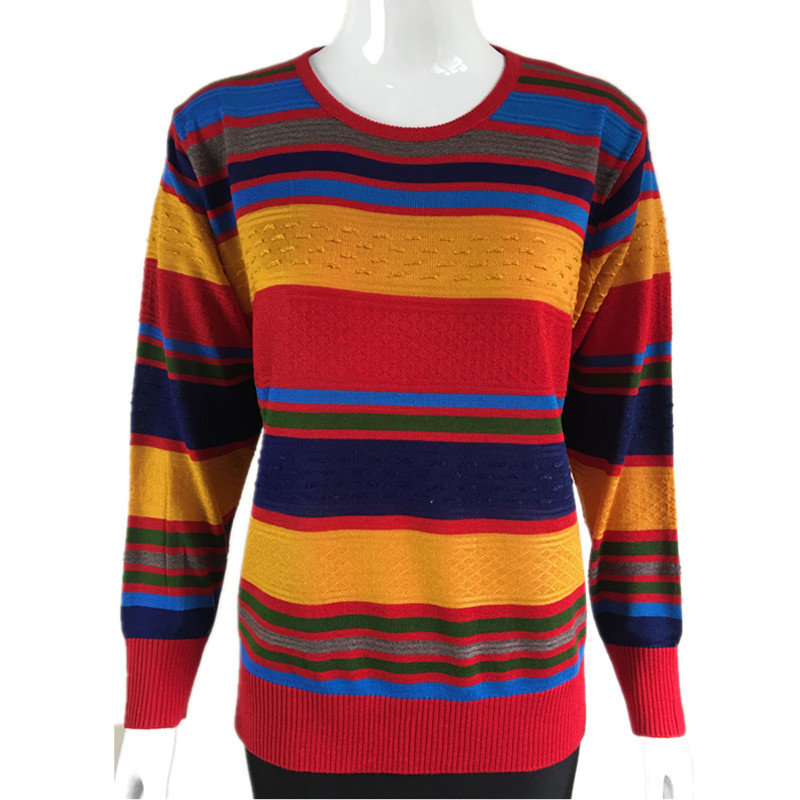 Middle aged and old womens autumn and winter sweaters, coats, stripes, large round necks, colored stripes, knitted bottoms, sweaters, blouses, womens