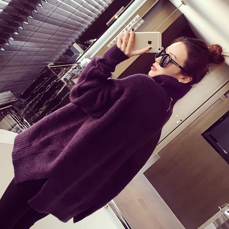 7097#小银子2016冬装新款韩版时尚下摆开叉高领宽松套头毛衣女