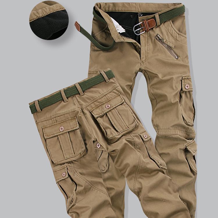 Winter mens outdoor leisure pants pants Plush thick overalls mens pants Multi Pocket loose warm winter pants